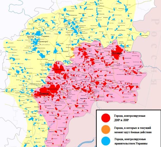 карта ДНР ЛНР Новороссии